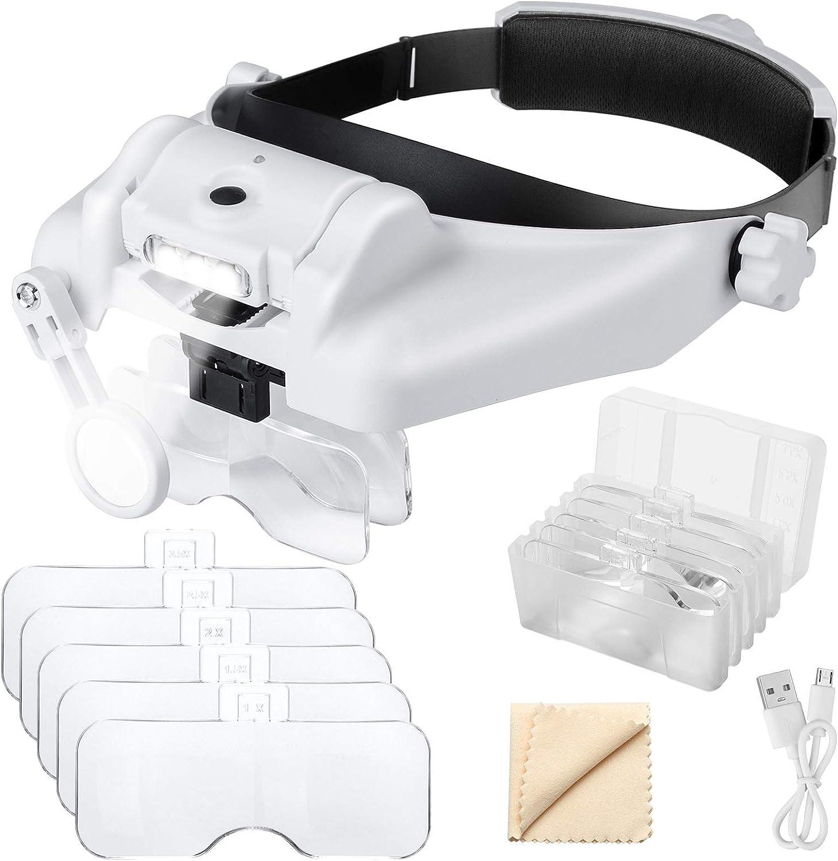 EEEKit 1X a 14X Diadema Lupa con luz LED, Montaje de Cabeza Manos Libres Lupa Visor Auricular Lupa Herramientas para joyería Profesional Trabajo cercano Costura Manualidades Reparación de Lectura