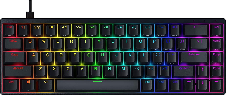 Durgod Hades 68 RGB Mechanical Gaming Keyboard - 65% Layout - Cherry Profile - NKRO - USB Type C - Aluminium Chassis (Cherry Red, Black PBT)