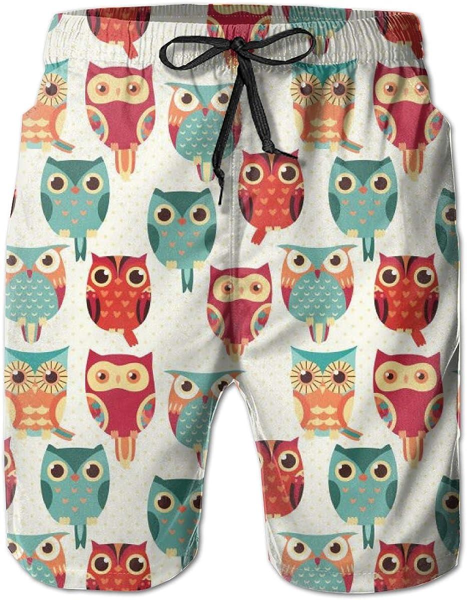 Mens Swim Trunks Quick Dry Summer Holiday Beach Shorts with Mesh Lining Cute Owl Art Beachwear