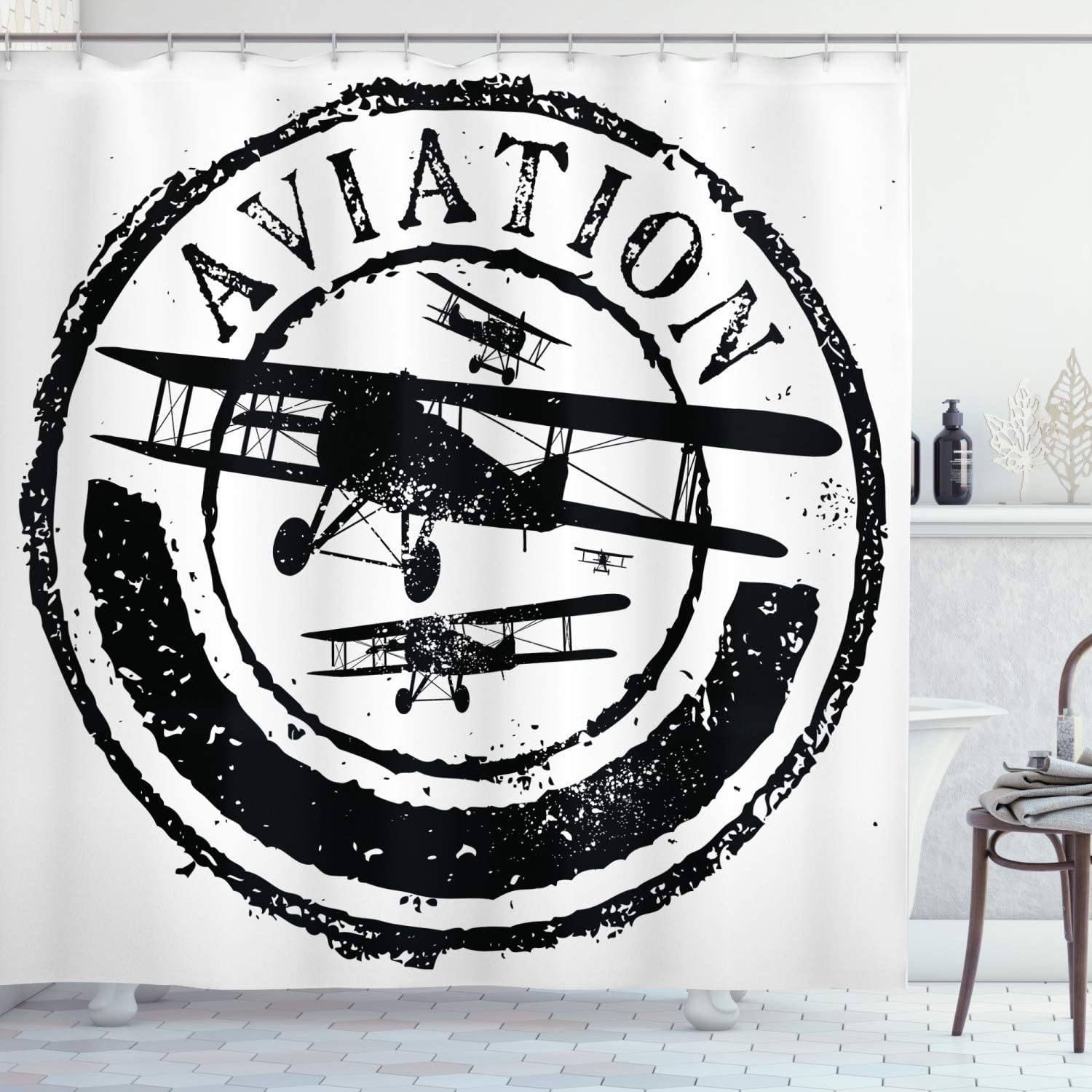 "Ambesonne Vintage Airplane Shower Curtain, Grunge Style Stamp Design with Word Aviation and Airplane Silhouettes, Cloth Fabric Bathroom Decor Set with Hooks, 70"" Long, Black and White"