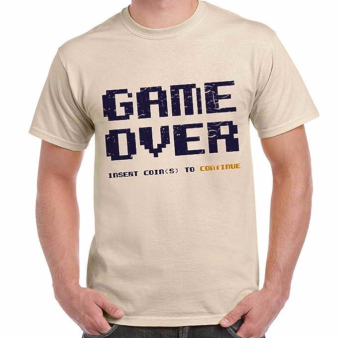 Camiseta Divertida Para Hombre Mangas Cortas con Estampado Game Over 27d47d1f448