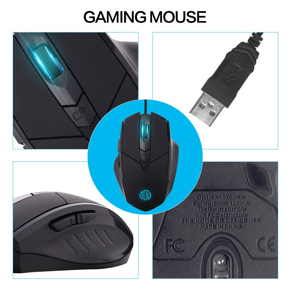 inphic Wired Computer Mouse Black Large USB Desktop Game Mice for Mac,DELL,HP PC/Laptop with Windows/XP Vista/, 6 Buttons 4 Adjustable DPI Levels, Breathing LED Light