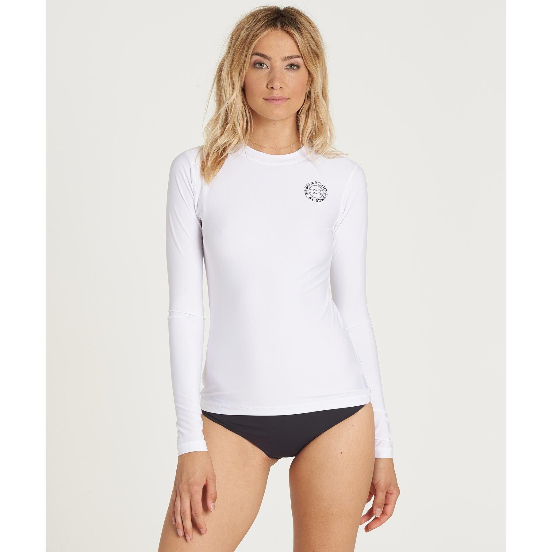 Billabong Women's Core Lose Fit Long-Sleeve Swim Rashguard, White, XS
