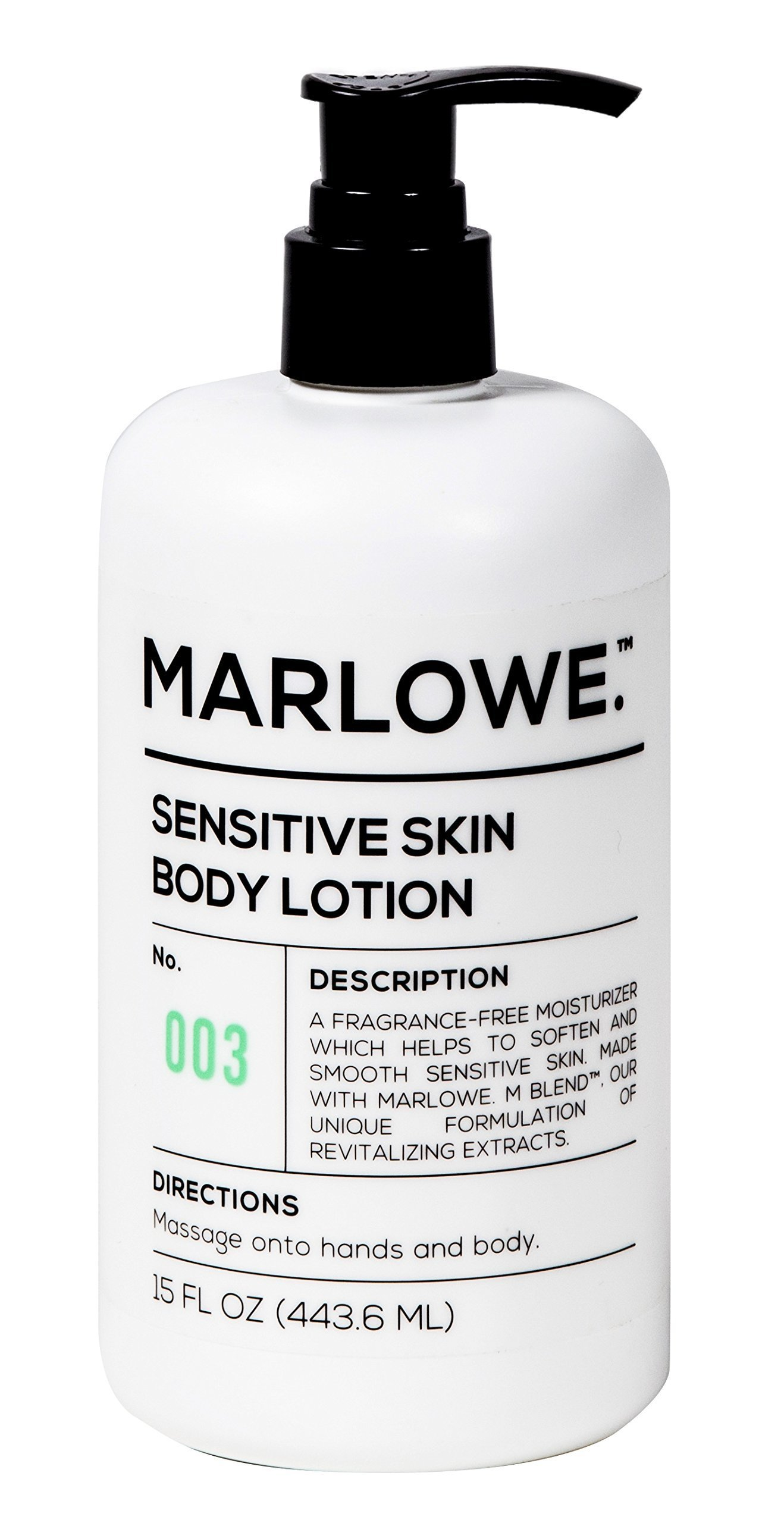 MARLOWE. No. 003 Sensitive Skin Body Lotion 15 oz | Moisturizing, Fragrance-Free, Natural Lotion for Dry Skin