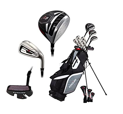 14 Piece Mens ALL GRAPHITE SENIOR Complete Golf Clubs Package Set Titanium Driver, Fairway, Hybrid, SS 5-PW Irons, Putter, Stand Bag - A FLEX SHAFTS
