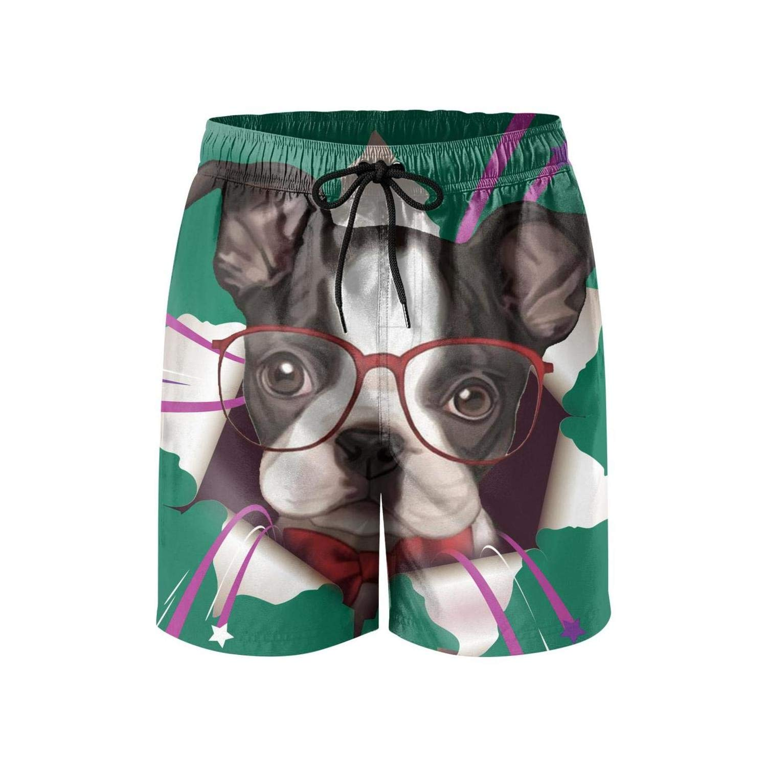 Mens Sportwear Quick Dry Board Shorts Cactus and Pug Swim Trunks