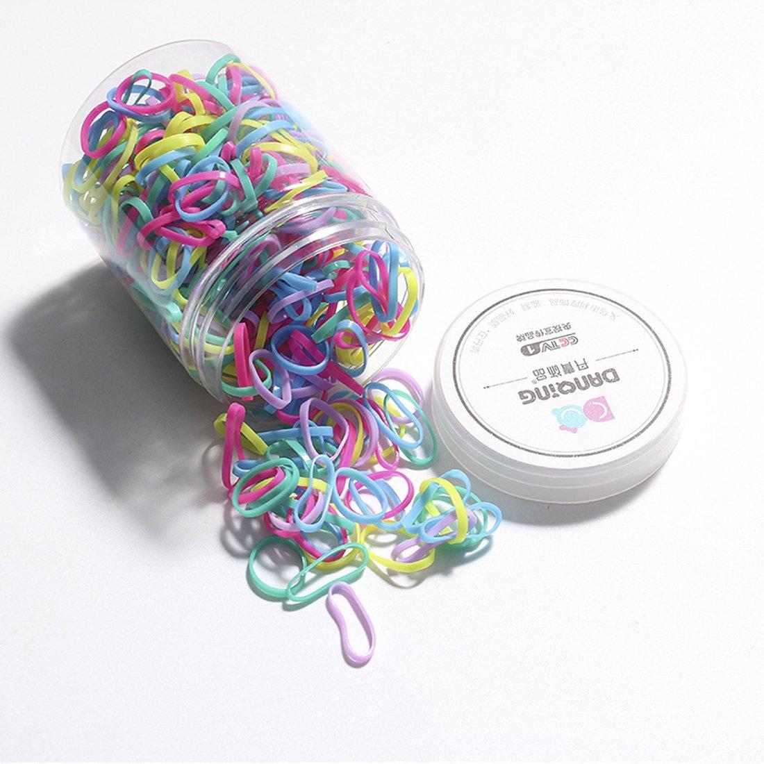 morbidi per capelli per bambine acconciature da sposa e molto altro trecce di gomma Elastici per capelli 450/pezzi di mini elastici colorati Miaoo