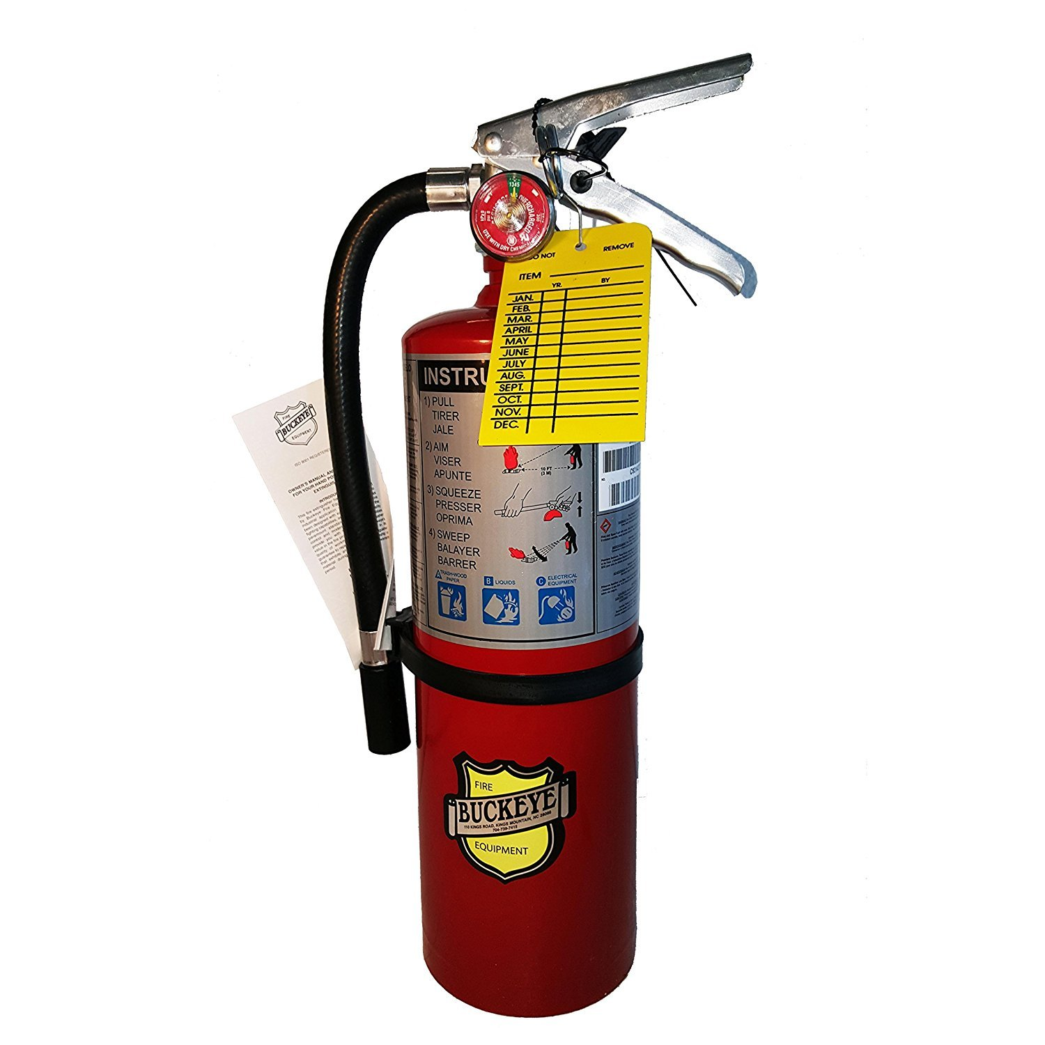 (Lot of 2) 5 Lb. Type ABC Dry Chemical Fire Extinguisher with Wall Hooks and Inspection Tag