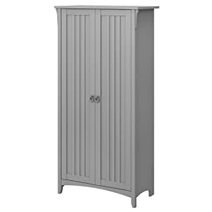 Bush Furniture Salinas Kitchen Pantry Cabinet with Doors in Cape Cod Gray
