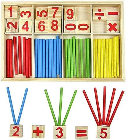 Bloques de madera de juguete, juguetes educativos Montessori, barras de inteligencia matemática, tarjetas de madera con números y contadores de varillas con caja: Amazon.es: Oficina y papelería