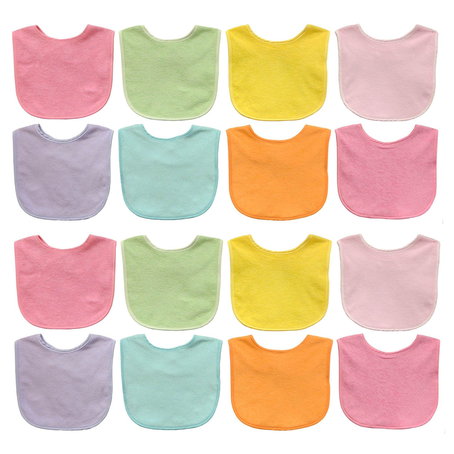 Neat Solutions Solid Colored Terry Feeder Bibs Girl, Multi, 16 Count