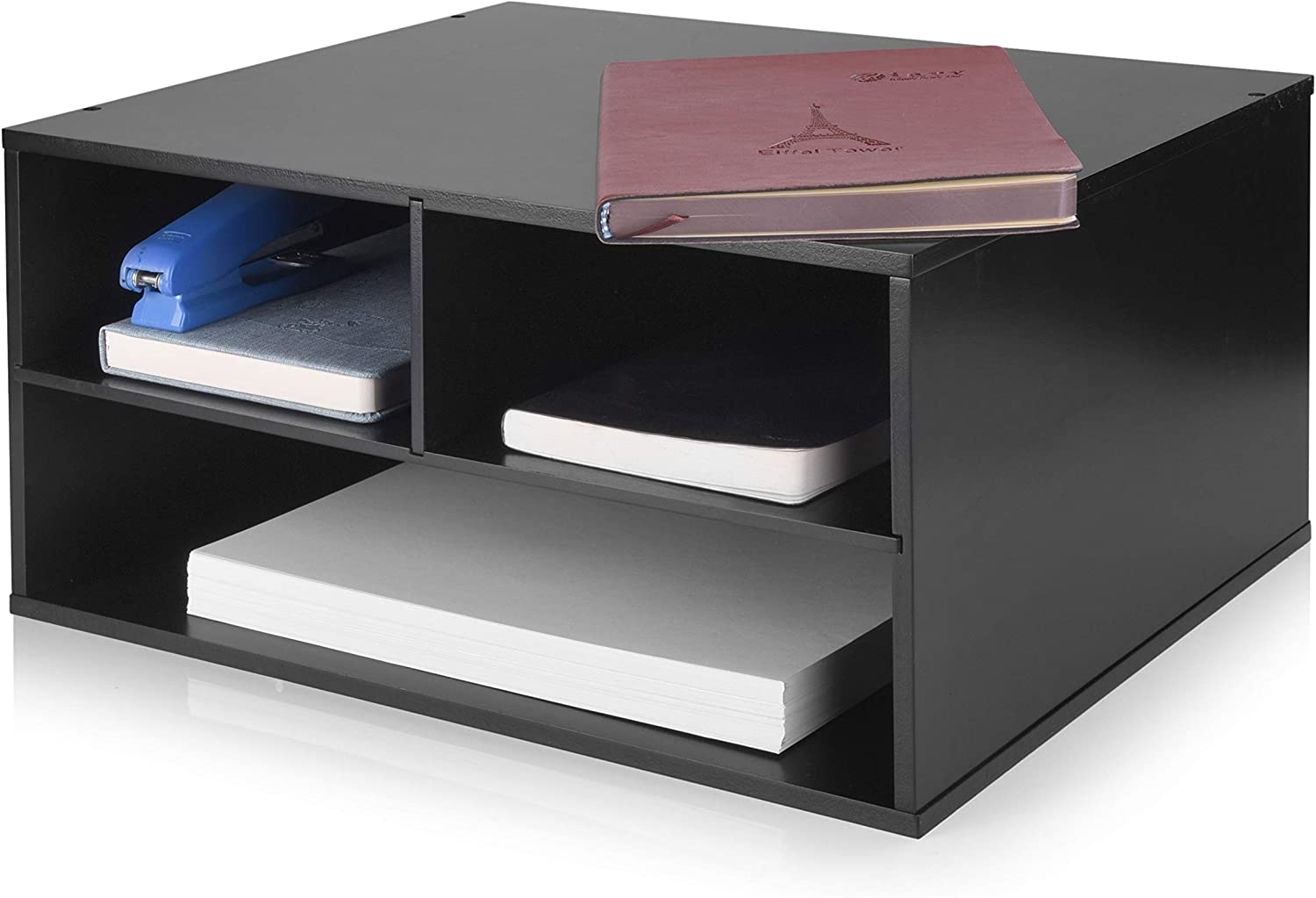 eMerit Printer Stand Shelf with Storage Wood Desk Paper Organzier for Home/Office,Printer Riser, 2 Tire (Black): Home Audio & Theater
