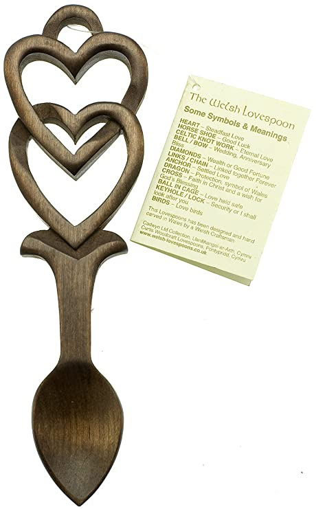 Welsh Love Spoon Love Entwined 110 With Complimentary Black