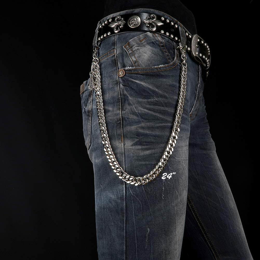 NEWTRO Heavy Thick Strong Biker Key Wallet Chain Trucker Jean Pants Chain for Men Silver Black Gold 17 24 TH02