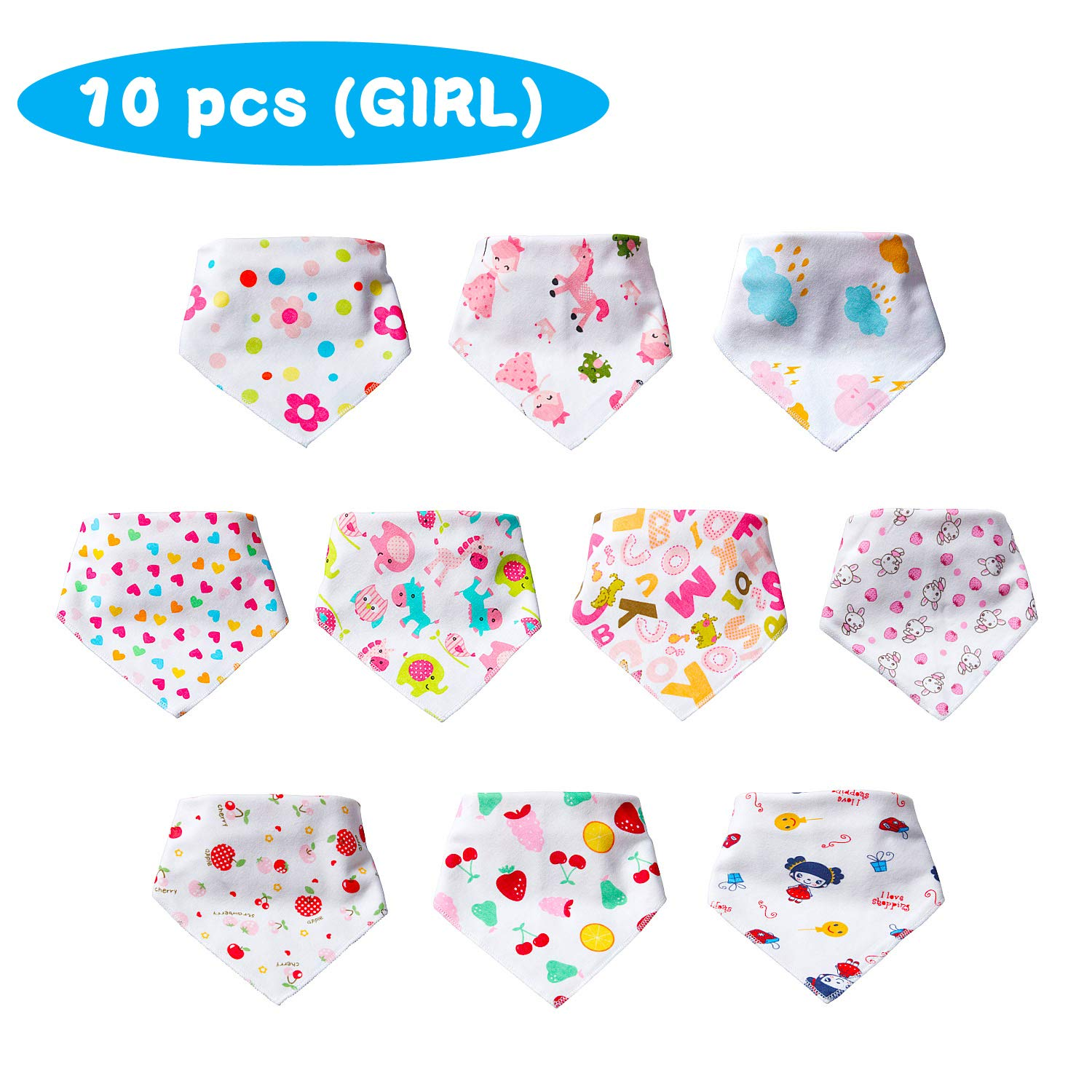 【Girls】Labebe 100/% Breathable Cotton Baby Bib for Girls Comfortable Soft /& Super Absorbent Caring Babys Delicate Neck Even in 95/°F Summer Days!Baby Bandana Bib Girl//Bandana Drool Bib Girl//White Bib