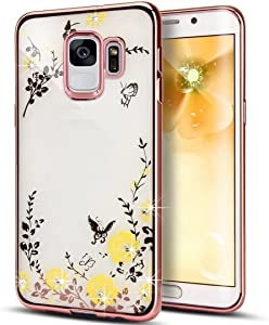 Luxury Butterfly Floral Flower Secret Graden Bling Diamonds Shiny Plating Frame Plating Bumper Soft Flexible TPU Clear Case for Samsung Galaxy S7 Edge(Rose Yellow)