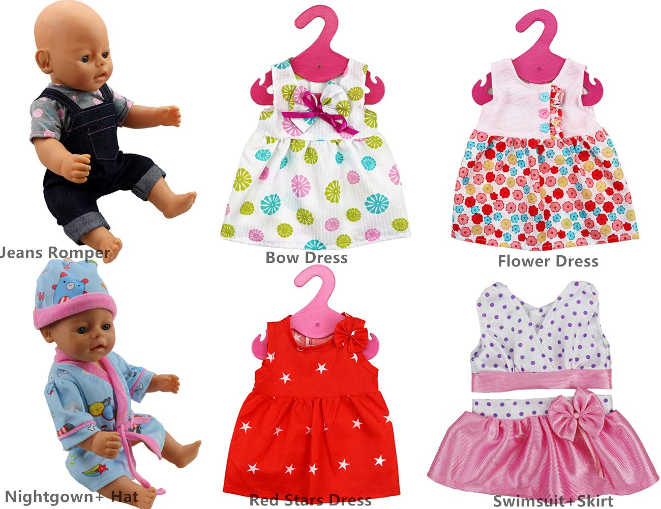 7pc Doll Clothes Hat and Coat for 43cm New Born Baby Dolls// 15 inch Bitty Doll