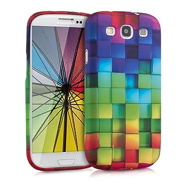 kwmobile Funda compatible con Samsung Galaxy S3 / S3 Neo - Carcasa de [TPU] con diseño de cubos de colores en [multicolor / verde / azul]
