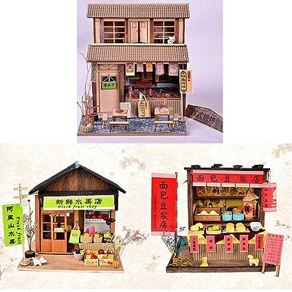 Amazoncom Natfur 124 Diy Wooden Dollhouse Miniature Kits