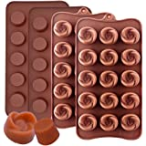 IHUIXINHE Silicone Chocolate Molds Truffle and Flowers Shape chocolate Candy Mould Jelly Ice Tray for Handmade DIY, 4 Pack