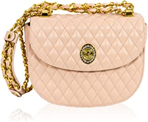 ded12b1e3ab5 Valentino Orlandi Italian Designer Blush Rose Quilted Leather Circle  Crossbody Bag