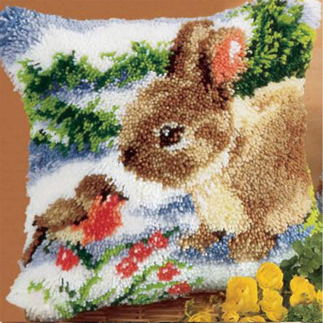 K9CK Latch Hook Kits DIY Animal Theme Carpet Cushion Crocheting Pillowcase Rabbit Rug Sewing Craft Kit Creative Gift for Kids//Adults Beginner