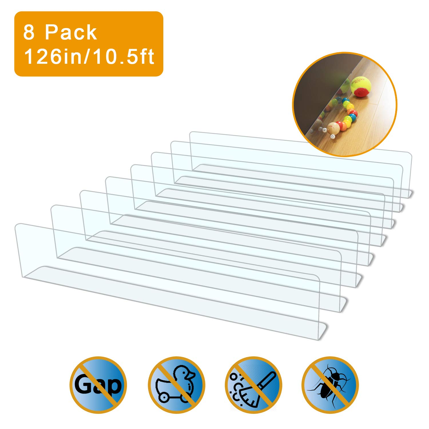 QIYIHOME 8-Pack Toy Blocker, Gap Bumper for Under Furniture, BPA Free Safe PVC with Strong Adhesive, Stop Things Going…