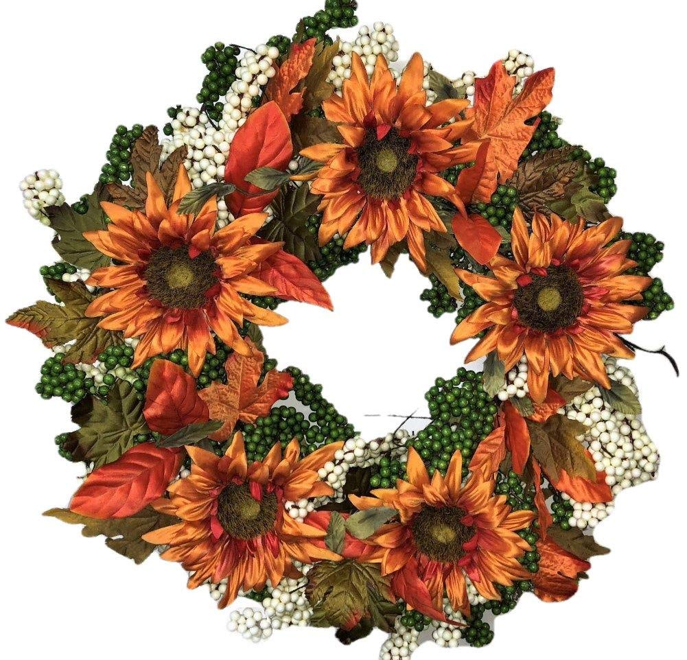 """silk flower arrangements flora decor autumn green apple sunflower wreath -24"""" - hand made on a sturdy grapevine base with green apple colored berries, fall colored leaves and big beautiful sunflowers."""