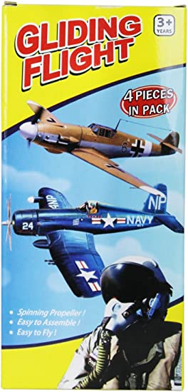 Glider Planes Set of 4 with Spinning Propeller Classic Fighter Designs