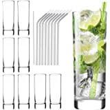 Glass Cups 10 oz, Clear Highball Glass Cocktail Glass Drinking Glasses [Set of 8] + 8 Stainless Steel Straws For Kitchen,Heav