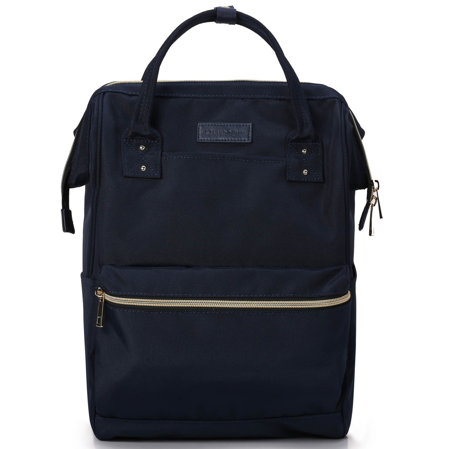 Lily & Drew Casual Travel Daypack School Backpack for Men Women and Laptop Computer, with Doctor Style Top Opening (V4 Dark Blue Medium)