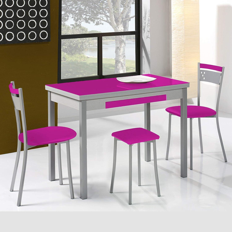 Tavoli Allungabili E Sedie In Coordinato.Dekogar Set Tavolo Estensibile E Sedie Da Cucina Modello A Fucsia