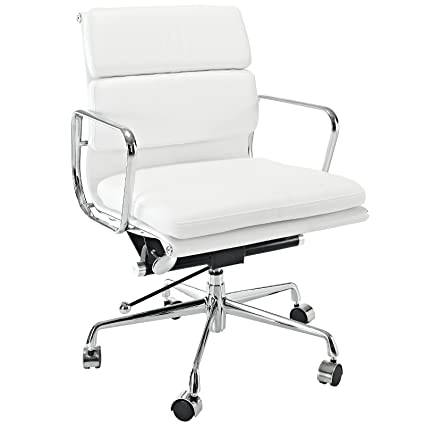 office chair genuine leather white. LexMod Discovery Mid Back Leather Conference Office Chair In White Genuine  Office Chair Genuine Leather White C
