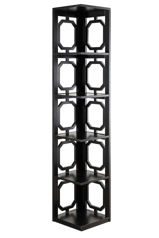 Convenience Concepts Omega 5-Tier Corner Bookcase, Black