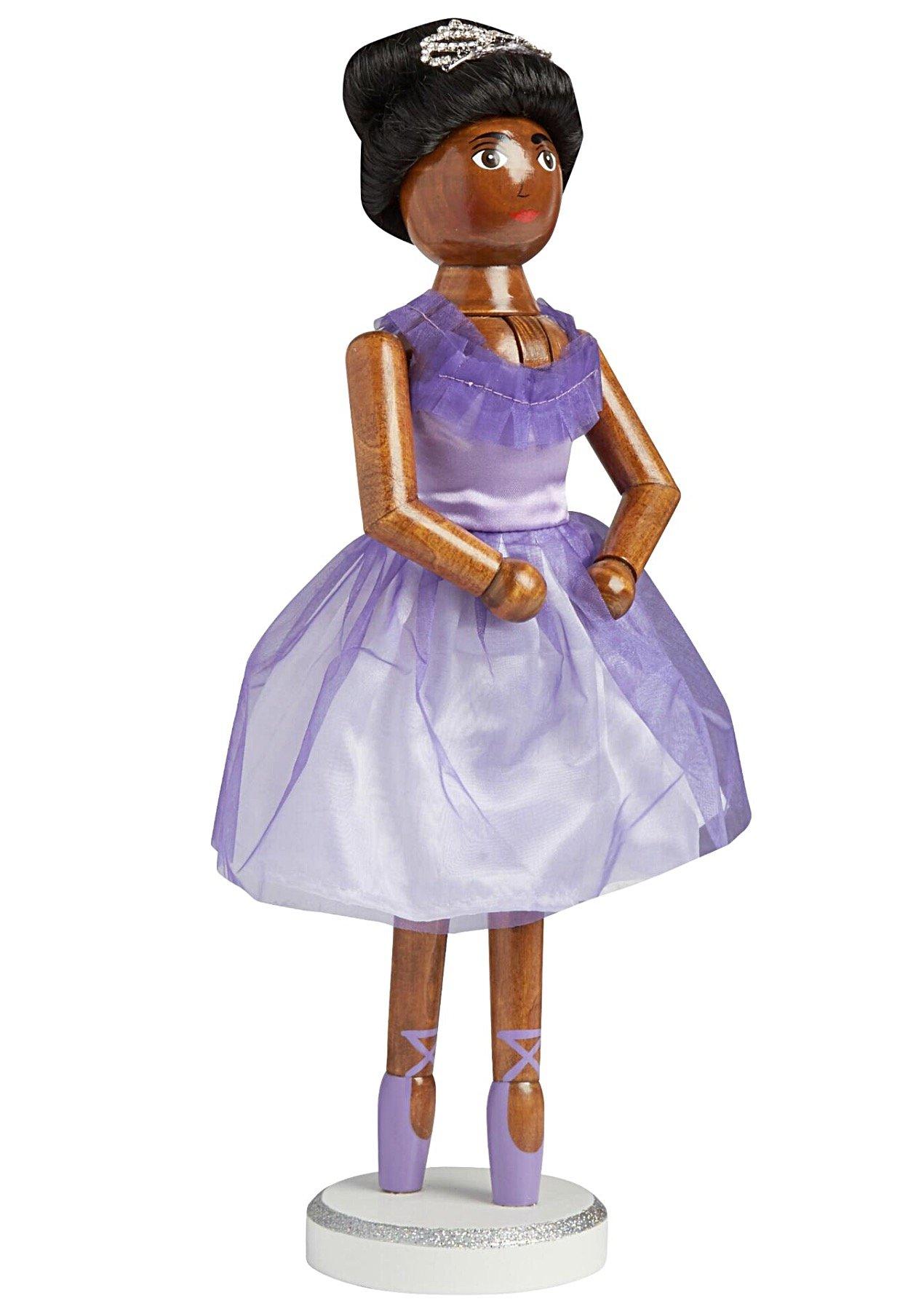 African American Black Girl Ballerina Dancer Large Unique Decorative Holiday Season Wooden Christmas Nutcracker