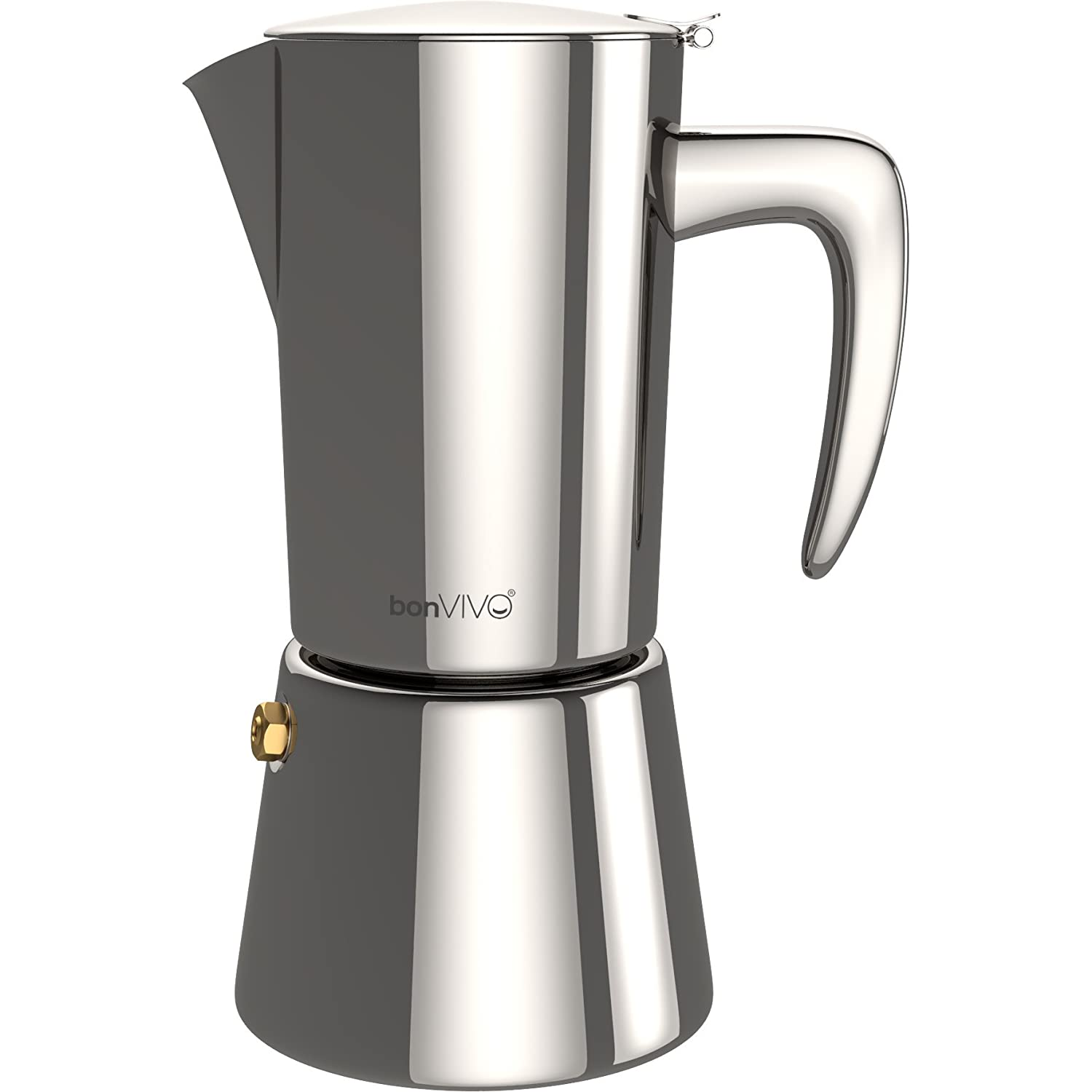 bonVIVO Intenca Stovetop Espresso Maker, Italian Espresso Coffee Maker, Stainless Steel Espresso Maker Machine For Full Bodied Coffee, Espresso Pot For 5-6 Cups, Moka Pot With Silver Chrome Finish