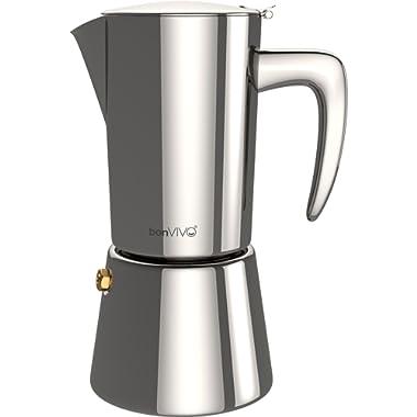 bonVIVO Intenca Stovetop Espresso Maker, Italian Espresso Coffee Maker, Stainless Steel Espresso Maker Machine For Full Bodied Coffee, Espresso Pot For 5-6 Cups, 11.8oz Moka Pot SILVER Chrome Finish