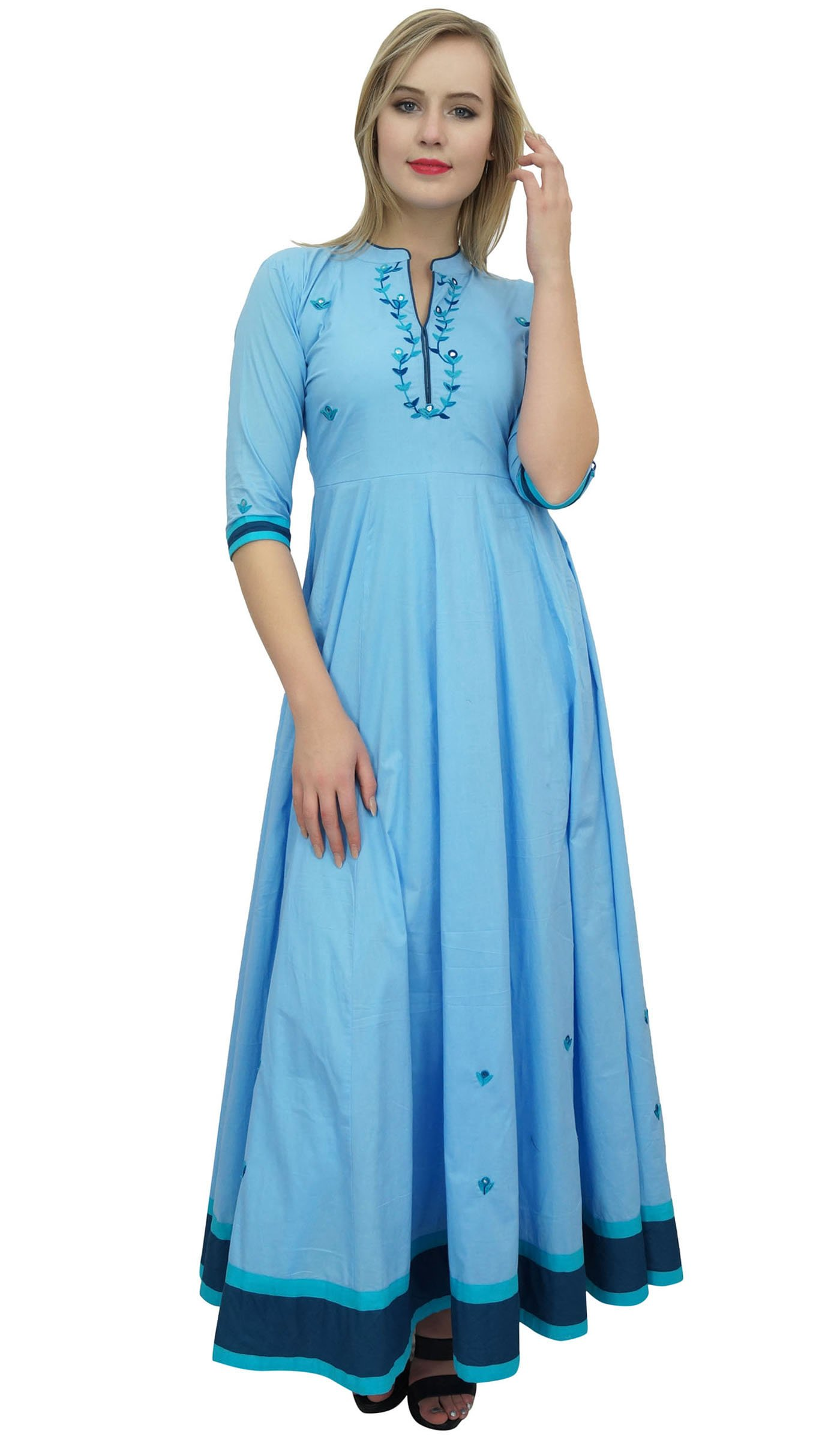 Bimba Women's Sky Blue Anarkali Flared Cotton Kurti Ethnic Embroidered Tunic-10
