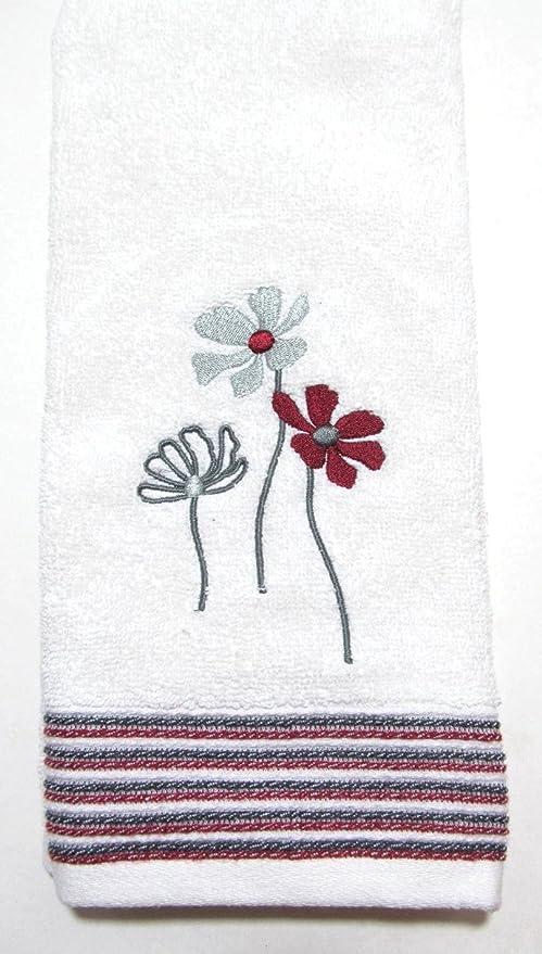 Evan rayas Floral bordado toalla de mano