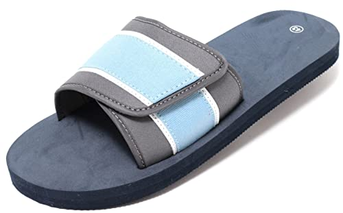 Herren Pantolette Freizeitsandale Slipper Beach Sandale mit Klettbandage Gr. 43-45 NAVY BLAU (45) Zapato Begrenzt Neue 71e8B
