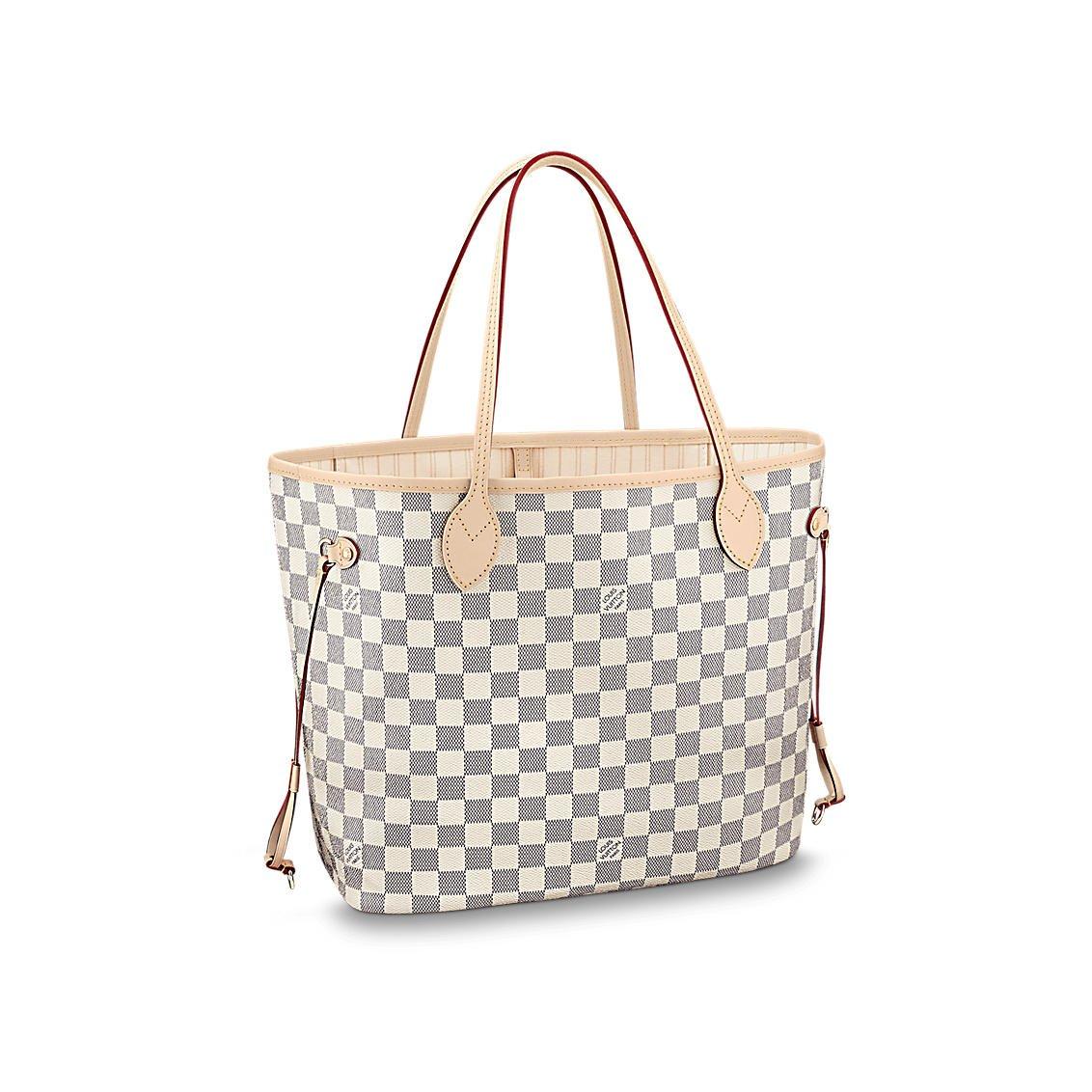 83e234db403 Amazon.com  Louis Vuitton Damier Azur Canvas Neverfull MM N41361  Shoes