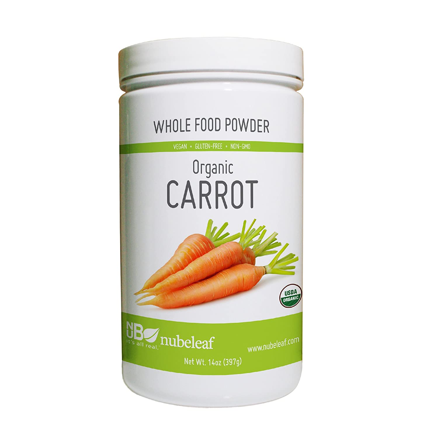 Nubeleaf Carrot Powder - Non-GMO, Gluten-Free, Raw, Organic, Vegan Source of Essential Vitamins & Minerals - Single-Ingredient Nutrient Rich Superfood for Cooking, Baking, Smoothies (14oz)