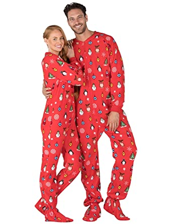Footed Pajamas - Holly Jolly Christmas Adult Fleece Onesie at Amazon ... 08e4990b7