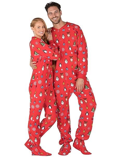 Christmas Pajamas Onesie.Footed Pajamas Holly Jolly Christmas Adult Fleece Onesie