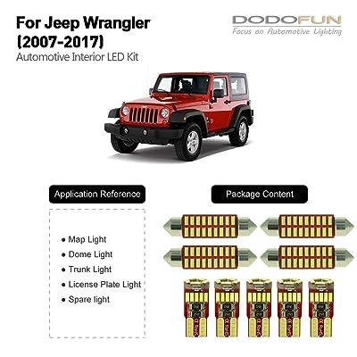 DODOFUN Deluxe Interior LED Lighting Kit for 2007-2020 Jeep Wrangler (9-pc Bulb 6000k): Automotive