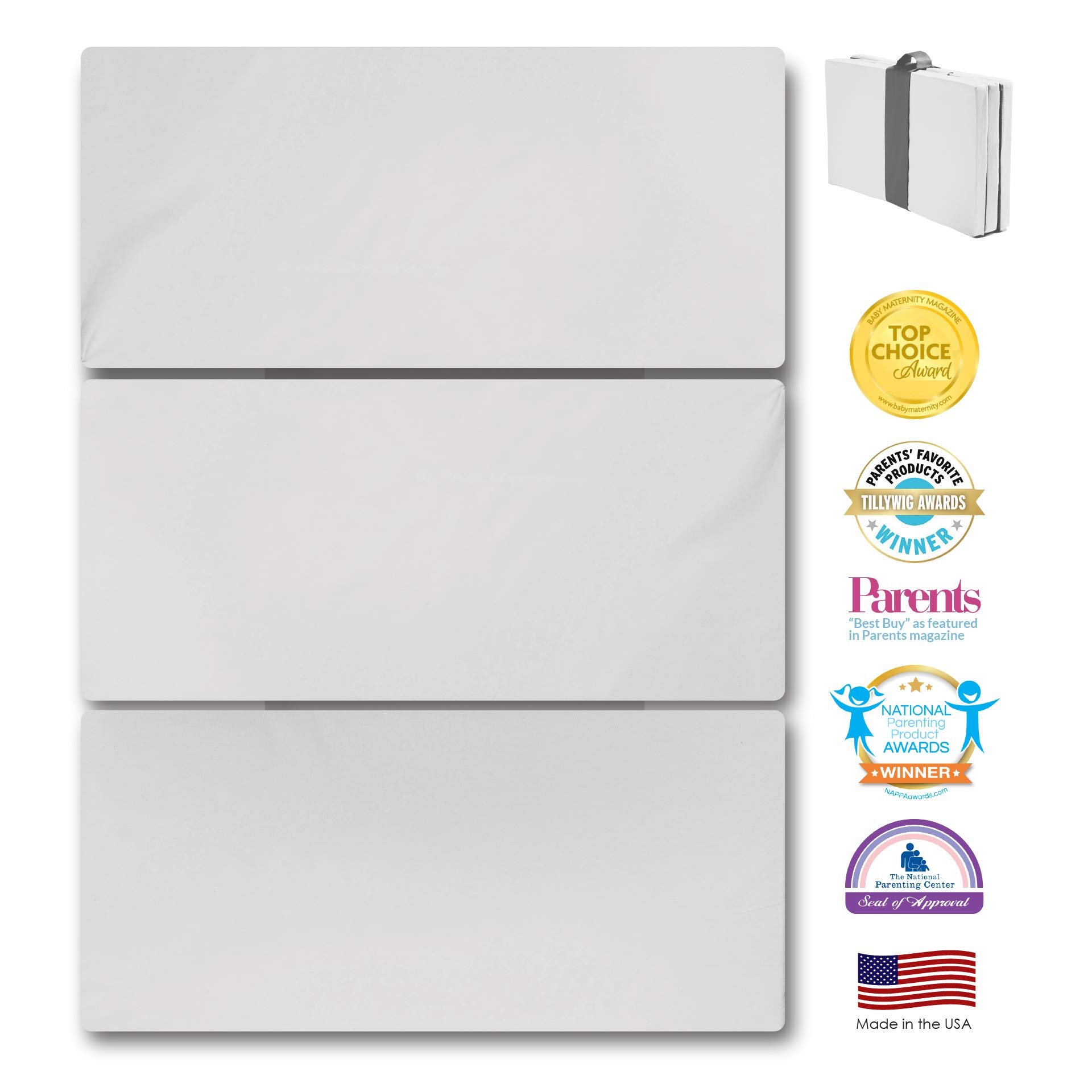 MamaDooKids Smart Play Yard Mattress, Patented and Made in California, 4 National Awards, Safe, Non-Toxic for 0-3 yr. old, Multi-use and Portable, Includes Travel and Storage Bag, Silver by MamaDoo