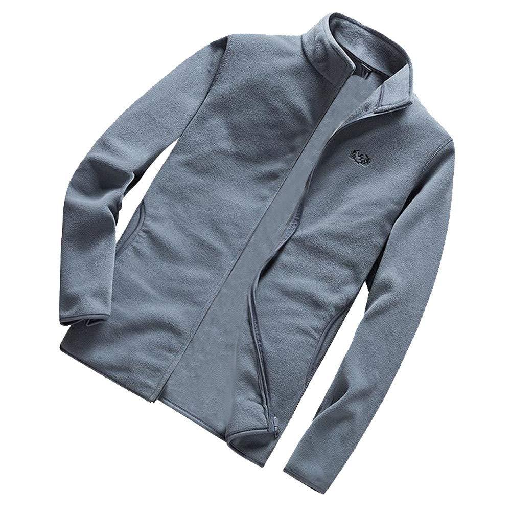 DaySeventh メンズ 冬用 暖かい ソリッドジャケット オーバーコート アウトウェア スリム ジッパー コート トップス ブラウス L グレー DaySeventh-1029 B07JZC6RD9 グレー Large