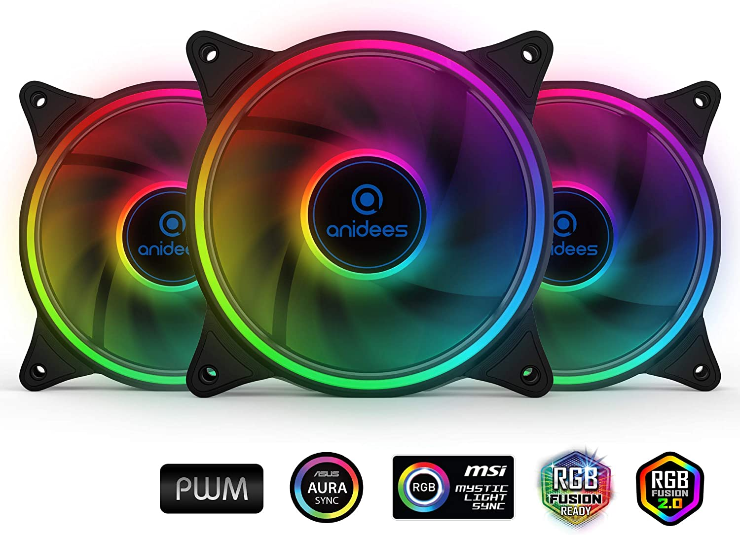 anidees AI Tesseract 120mm 3 pcs 5V Addressable RGB PWM Fan,Wireless Remote Control or from ARGB Header, for Case Fan, Cooler Fan, with Remote