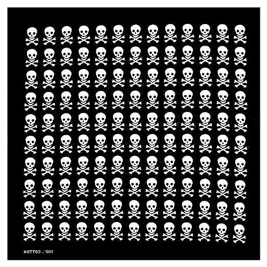 smallJUN 54x54cm Unisex Flaming Skull Bandanas cuadradas Algodón ...