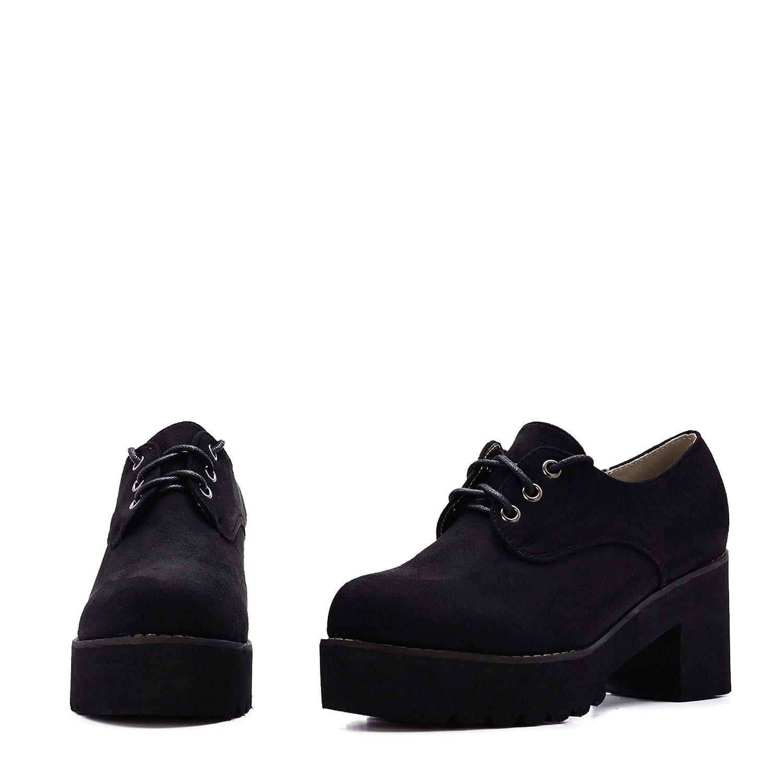 Rebajas Zapatos de Mujer Blucher con Plataforma y Cordones de Ante.: Amazon.es: Zapatos y complementos